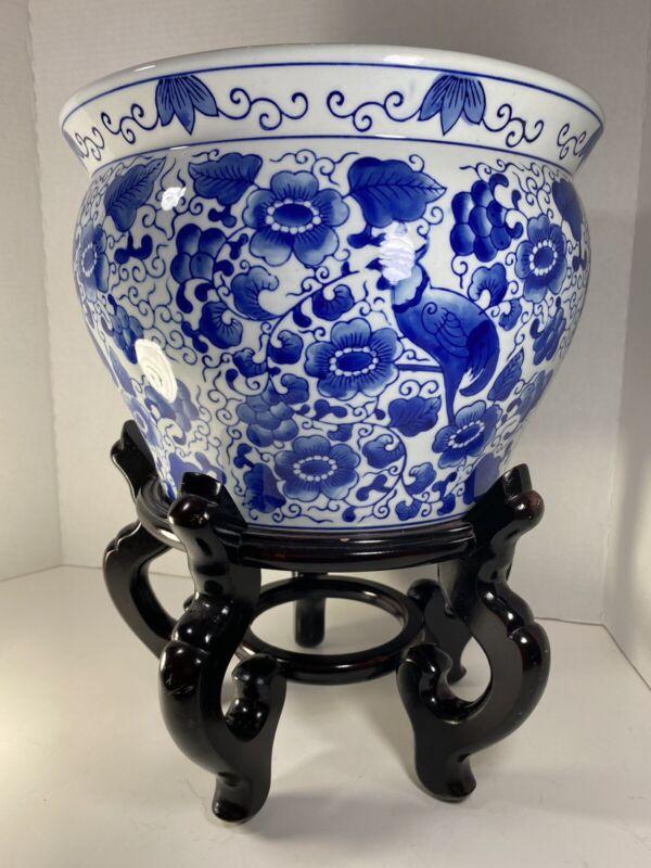 Blue & White Floral Porcelain Fish Bowl, Planter, Jardiniere Bombay Co  w/Stand