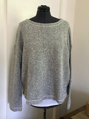 NWT EILEEN FISHER L Ash Bateau Neck Box Top Cotton Twisted Terry Sweater $238