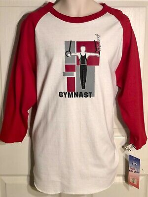 GK 3/4 SLV MENS MEDIUM BASEBALL TEE COTTON GYMNASTIC STILL RINGS GRAPHICS AL NWT