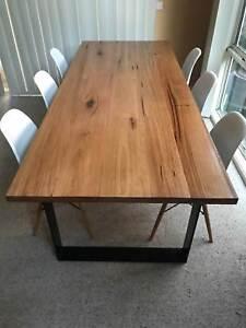 2400 * 950 HARDWOOD DINING TABLE WITH METAL LOOP LEGS