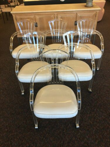 Set of 6 MCM Hill Manufacturing Lucite & White Vinyl Chairs Mid Century Modern