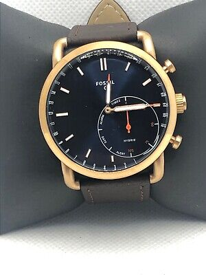Fossil Q FTW1154 Men's Brown Leather Analog Blue Dial Hybrid Smart Watch HK224