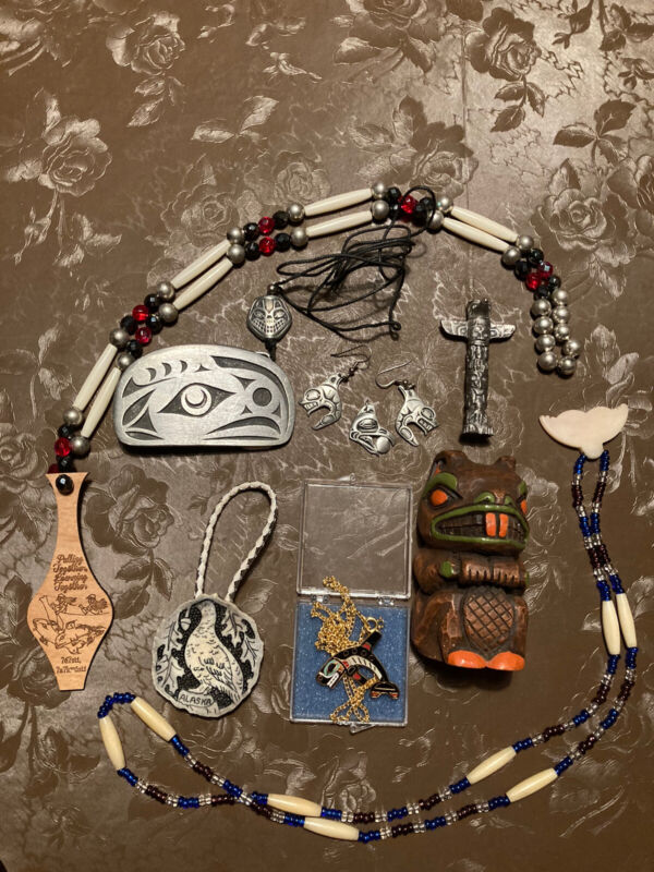 Alaska First Nations NWC Jewelry Buckle Figure Lot Audette Frederick Faulstich