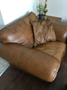 Leather couch and armchair set