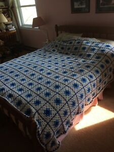 Crochet blue &white bedspread Afghan handmade & two smaller size