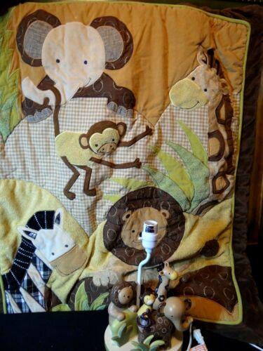 Lambs & Ivy Jungle Animals Nursery Lamp Giraffe Elephant Lion Baby + Quilt EUC