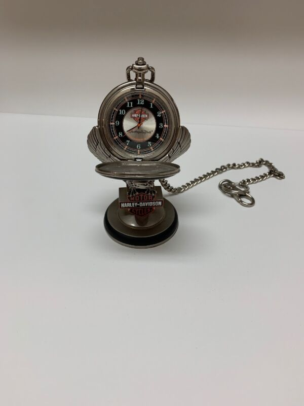 FRANKLIN MINT COLLECTOR TIME PIECES - HARLEY DAVIDSON WITH STAND 1996