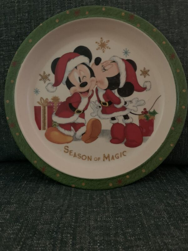 Disney Christmas Mickey and Minnie Bamboo Fiber Kids Plate Bowl Cup Fork Spoon