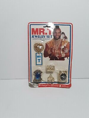 Vintage Mr T A-Team Show Jewelry Set Toy Ring Necklace Pendant 1983 Sealed