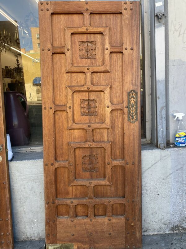 Spanish Revival Style Carved  Wood Kitchen Swing Door 78.25 X 31.50
