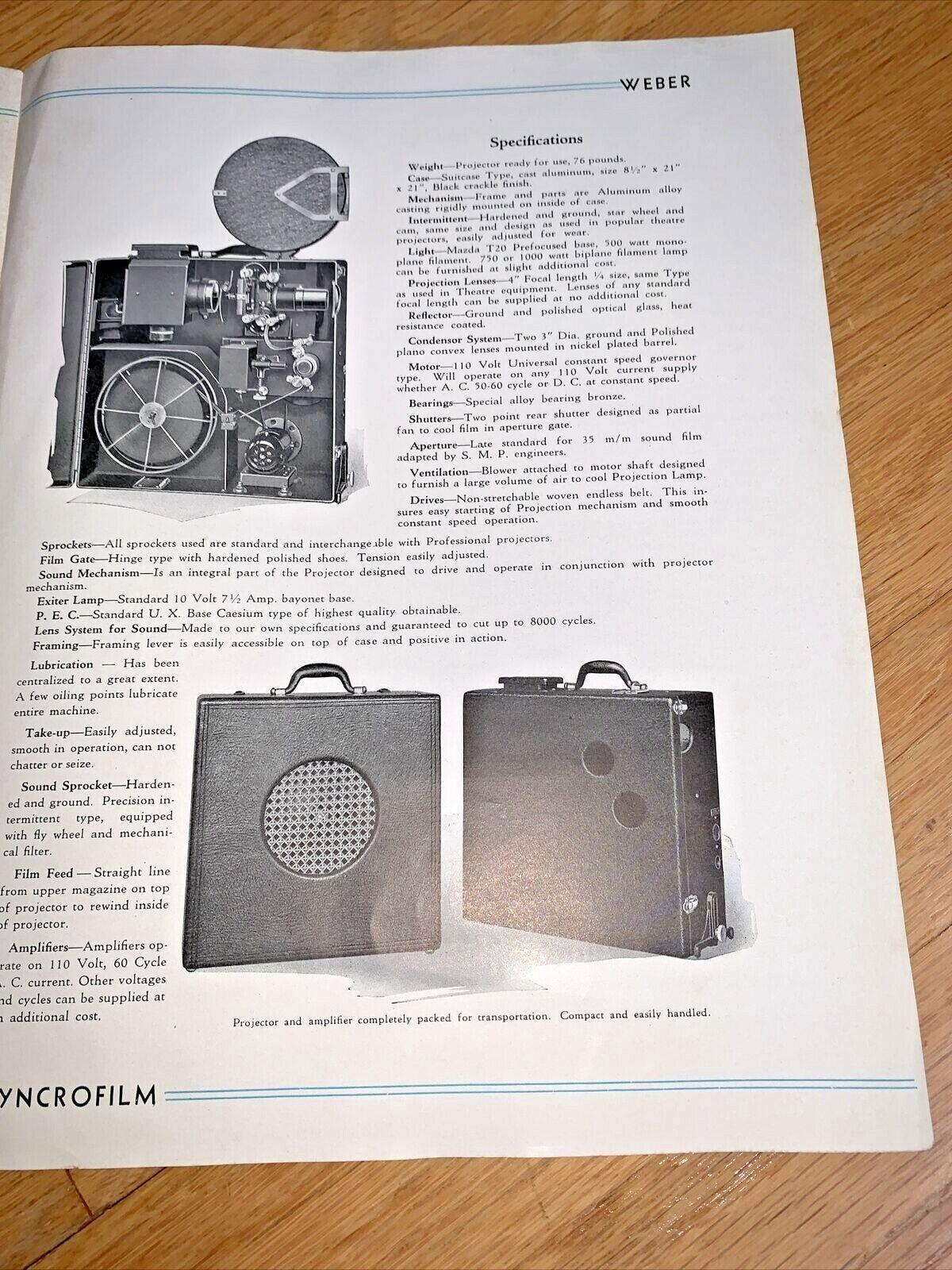 1930 s SYNCROFILM - WEBER MACHINE CORP. Brochure 35m/m Sound Visual Projector - $14.95