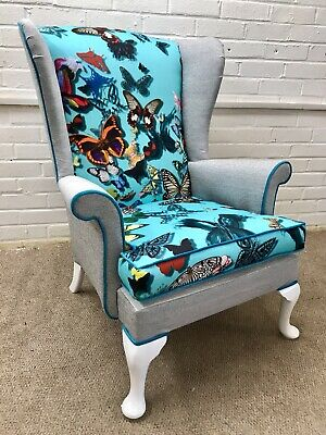 Parker Knoll Wingback chair newly Upholstered in Designers Guild Fabric