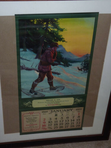 Winchester Fire Arms 1927Hardware Sporting Store Calendar Cypress, Illinois