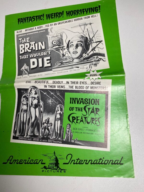 The Brain That Wouldnt Die Star Creatures Pressbook Publicity Poster Order Sheet