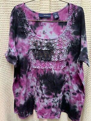 ❤️Denim 24/7 Purple & Black Tie dye Tunic Top Smock 100% Cotton India