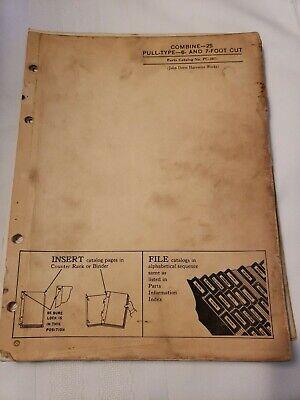 John Deere 25 Pull Type Combine Parts Manual Catalog Pc267