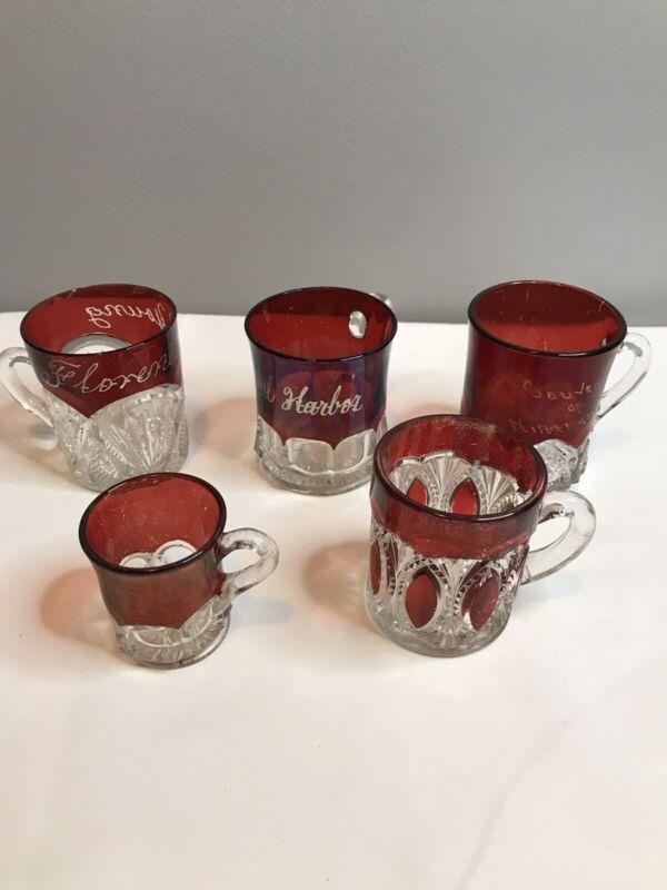 Vintage Worlds Fair Ruby Flashed Souvenir Glasses