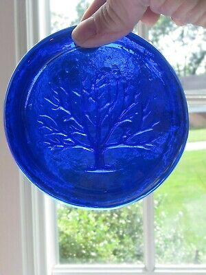 Blenko Suncatcher-  Cobalt Blue with tree design