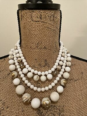60s -70s Jewelry – Necklaces, Earrings, Rings, Bracelets Vintage 1960's / 1970's Women's White 4 Strand White/ Gold Bead Necklace, Used $18.99 AT vintagedancer.com