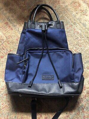 Versace Parfums Backpack Black/Blue Drawstring/Handles Rucksack Bag