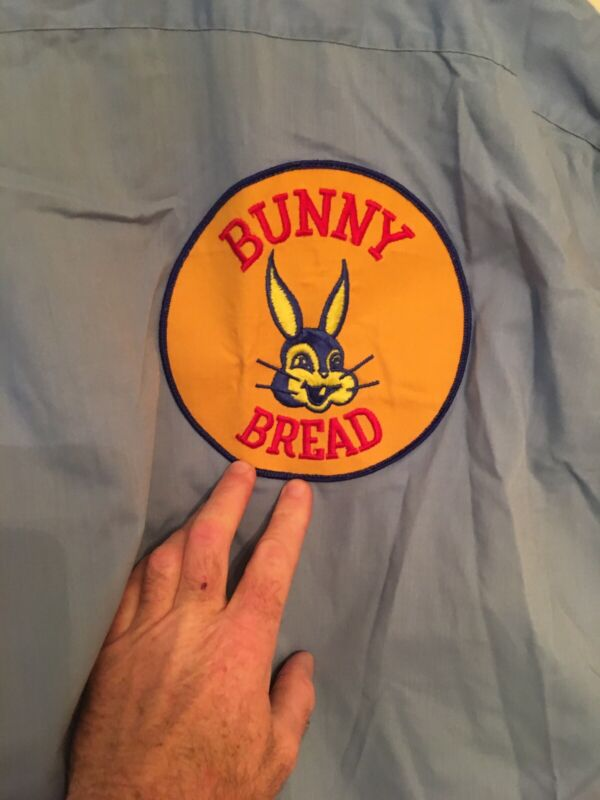 Small or Medium Advertising Bunny Bread Delivery Man Uniform Shirt Top 2 Patches