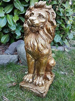 Löwe Gartenfigur gold antik  60cm groß Torwächter Skulptur Gartendeko Garten