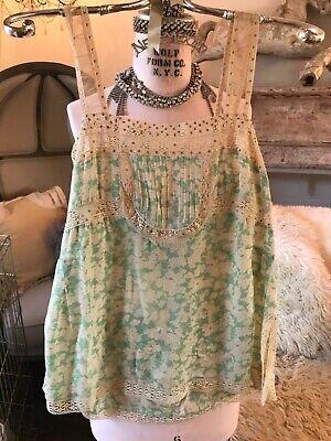 Rebecca Taylor Silk Tank Cami Green Cream Floral Lace Sequin 4 XS Small