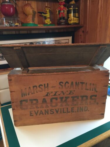 WOODEN HINGED LID ADVERTISING CRATE WOOD CRACKER BOX EVANSVILLE INDIANA POSTCARD