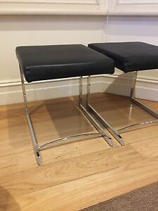 Stool / Chair - Black Leather Hamilton South Newcastle Area Preview