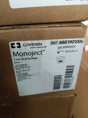 Covidien Monoject Oral Syringe Ref 8881901006 Case Of 500