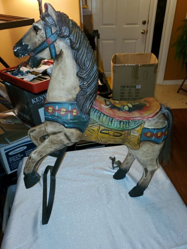 "Large Carousel Horse hand carved wood statue 28.5"" H fine painted details wooden"