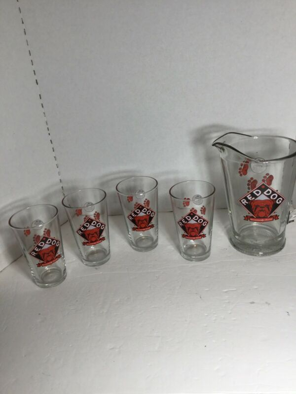 Rare Red Dog Glass Beer Pitcher & 4 Glasses Bar Set Paws U.R Your Own Dog 1995