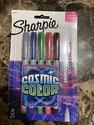 Sharpie Cosmic Color Ultra Fine Point Markers 5 Ct Limited Edition Permanent