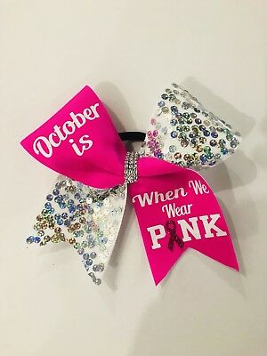 Breast Cancer Awareness Bows (Breast Cancer Awareness Sequin Cheer)
