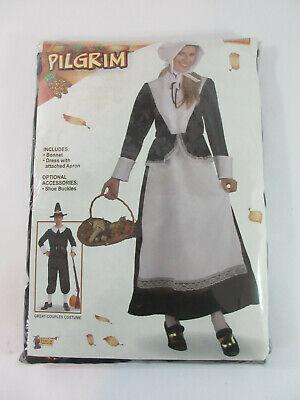 Womens Adult Pilgrim Costume Colonial Lady Settler Dress Bonnet Thanksgiving