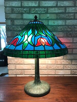 "Vintage Tiffany Style Floral Tulip Pattern Stained Glass Large 20.5"" Lamp - Tulip Lamp Pattern"