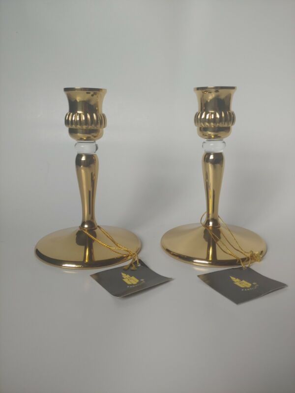 Partylite Brass Candlestick Holders P0440 Richmond W/Clear Accent Set Of 2 New