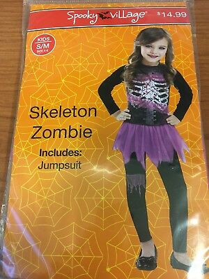 SPOOKY VILLAGE SKELETON ZOMBIE HALLOWEEN COSTUME FOR GIRLS INCLUDES A JUMPSUIT - A Zombie Costume