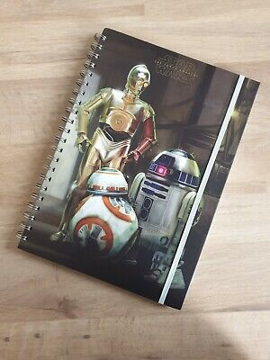 A4 Star Wars 3 Droids BB-8 R2-D2 C-3PO Ruled Note Book Pages Notebook Spiral