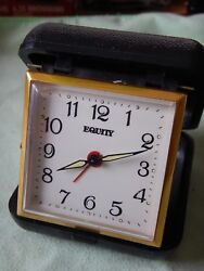 Equity by La Crosse Quartz Folding Travel Alarm Clock with Gold tone Trim