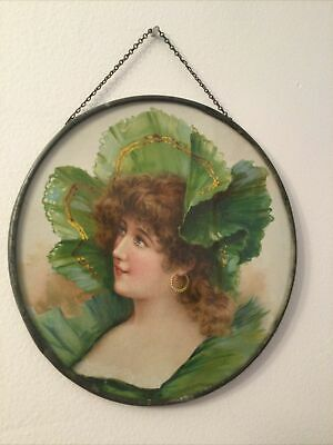 """Antique Victorian Flue Cover Stove Pipe Cover Young Lady in Green W/Hat 8""""Round"""