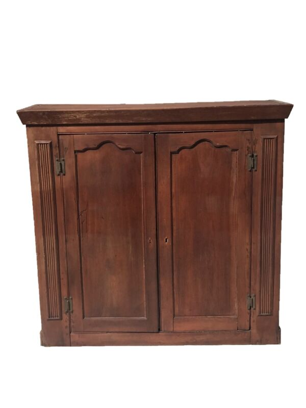 18TH C ANTIQUE SECRETARY CABINET / PRIMITIVE JELLY CUPBOARD ~ ORIGINAL RED WASH