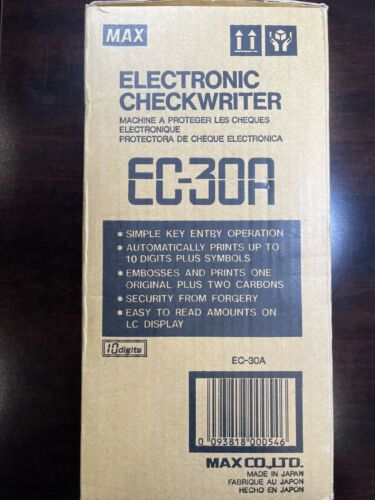 EC-30A MAX Electronic Check writer Printer 10 Digit EC30A with new R-50 Roll