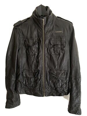 Superdry Megan Black Leather Jacket Brand New Cost £274.99 BNWT Size Large