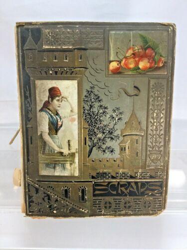 Antique 1890s Victorian Scrapbook Album w/ Advertising Die Cuts Trading Cards