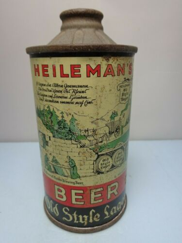 HEILEMANS OLD STYLE LAGER FLAT BOTTOM PRE IRTP CONE TOP BEER CAN 177-3 WISCONSIN