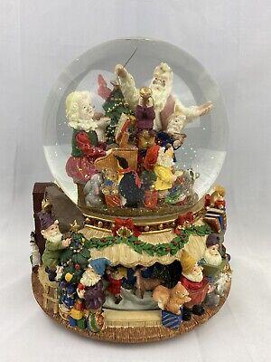 Kirkland Mr & Mrs Santa Claus Rotating Tis The Season Musical Snow Globe LARGE!!