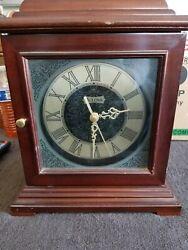 Bulova Symphony Mantel Clock Solid Wood Walnut B1873 TESTED AND WORKING