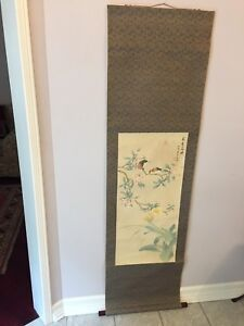 Vintage large size oriental hand painting on silk scroll