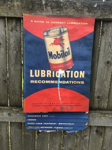 Vintage 1954 Mobiloil Socony Lubrication Oil Chart Gas Oil Soda